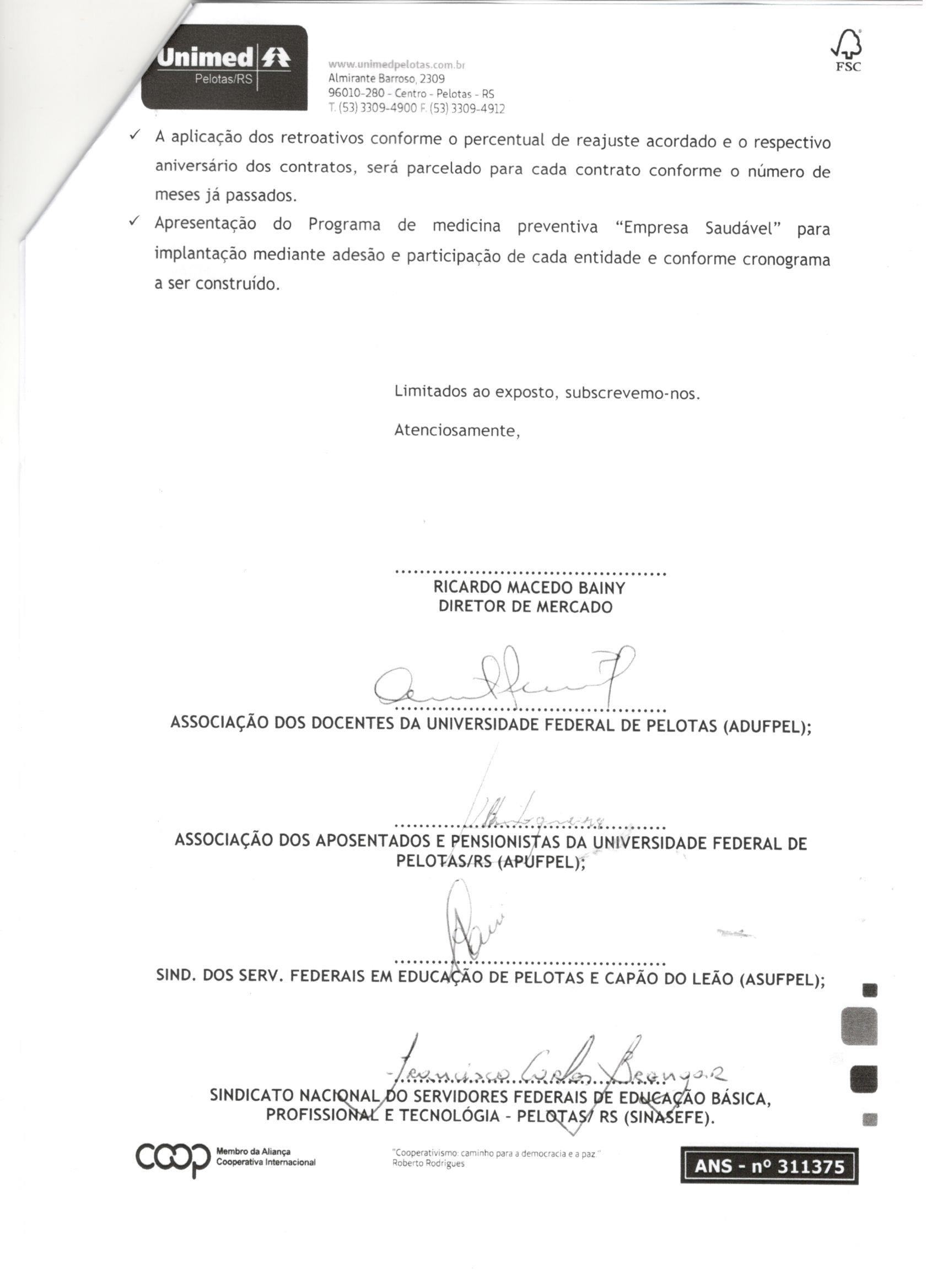 Acordo assinado